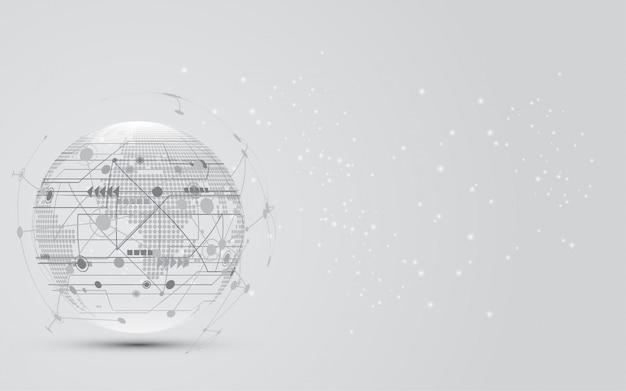 Глобальное сетевое соединение карта мира абстрактный фон технологии