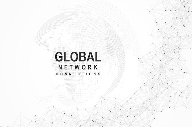 Подключение к глобальной сети. точка карты мира и концепция состава линии глобального бизнеса. интернет-технологии. социальная сеть. векторные иллюстрации