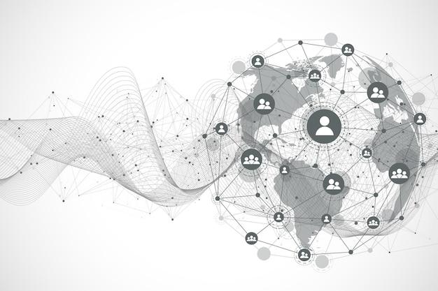 Подключение к глобальной сети. точка карты мира и концепция состава линии глобального бизнеса. интернет-технологии. социальная сеть. векторные иллюстрации.