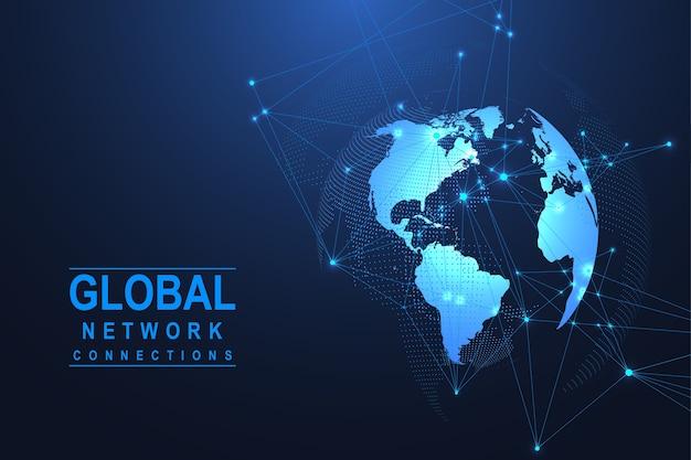 Подключение к глобальной сети. точка карты мира и концепция состава линии глобального бизнеса. интернет-технологии. социальная сеть.