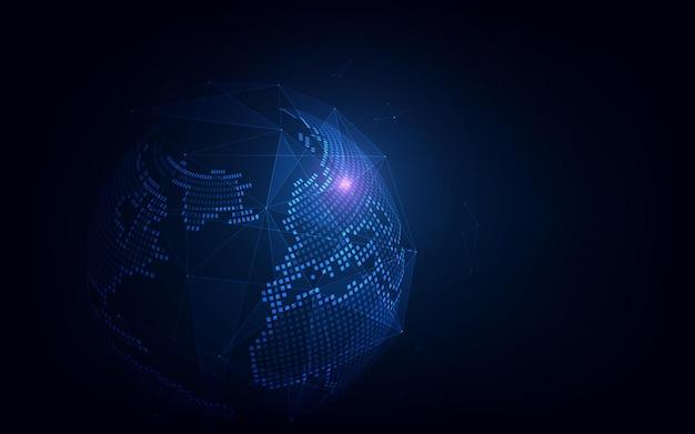 Подключение к глобальной сети. точка карты мира и концепция состава линии глобального бизнеса.