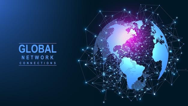 グローバルネットワーク接続。グローバルビジネスの世界地図の点と線の構成の概念。
