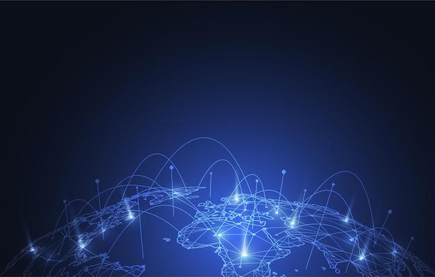 글로벌 네트워크 연결. 글로벌 비즈니스의 세계지도 포인트 및 라인 구성 개념