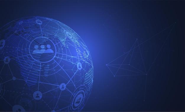 Подключение к глобальной сети. точка карты мира и концепция состава линии глобального бизнеса