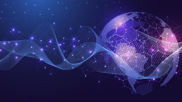 グローバルネットワーク接続世界地図のポイントとラインの構成の概念