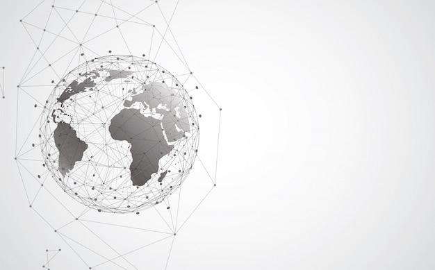 글로벌 네트워크 연결. 세계지도 포인트 및 선 구성 개념