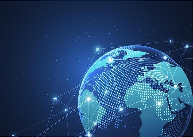 글로벌 네트워크 연결. 세계지도 포인트 및 라인 구성 개념