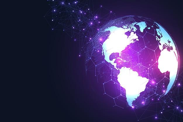 글로벌 네트워크 연결 글로벌 비즈니스의 세계지도 포인트 및 라인 구성.