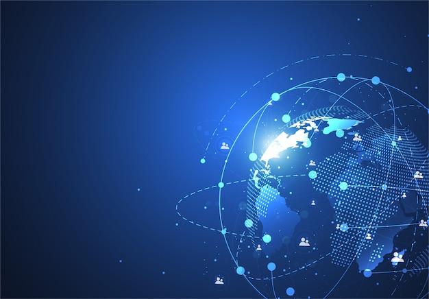 Глобальное сетевое соединение. карта мира, точечная и линейная композиция