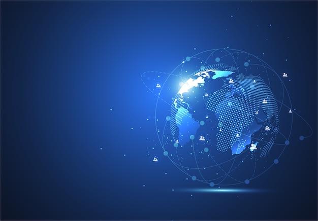 グローバルネットワーク接続。世界地図の点と線の構成