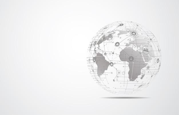 글로벌 네트워크 연결. 세계지도 포인트 및 라인 구성