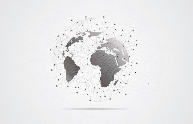 글로벌 네트워크 연결. 세계지도 포인트 및 라인 구성 프리미엄 벡터