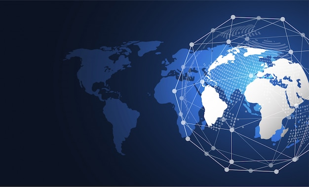 Global network connection. world map point