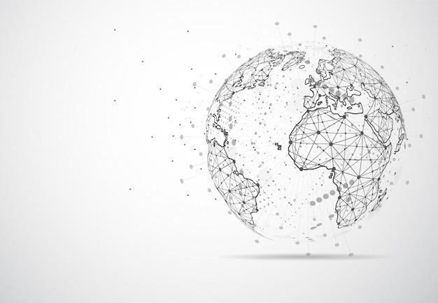 글로벌 네트워크 연결. 세계지도 포인트
