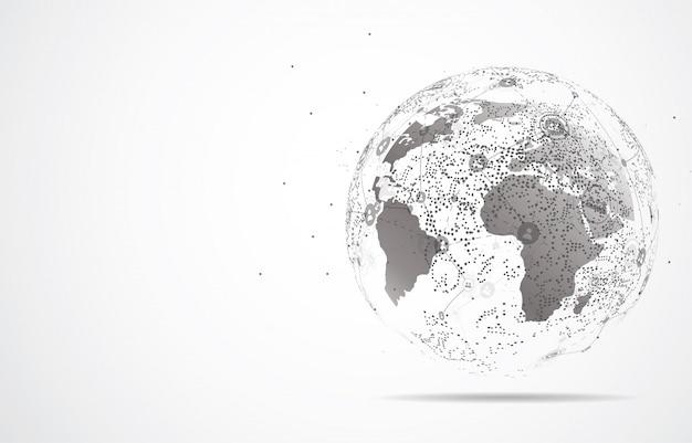 Глобальное сетевое соединение. точка на карте мира