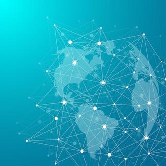 점과 선을 사용한 글로벌 네트워크 연결. 인터넷 연결 배경입니다. 추상 연결 구조입니다. 다각형 공간 배경입니다. 벡터 일러스트 레이 션