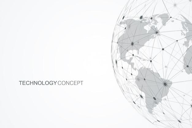 ポイントとラインを使用したグローバルネットワーク接続。インターネット接続の背景。抽象接続構造。多角形のスペースの背景。