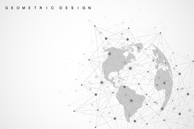 Глобальные сетевые соединения с точками и линиями. векторная иллюстрация