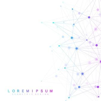 Глобальные сетевые соединения с точками и линиями. каркасный фон. абстрактная структура соединения. многоугольный фон.