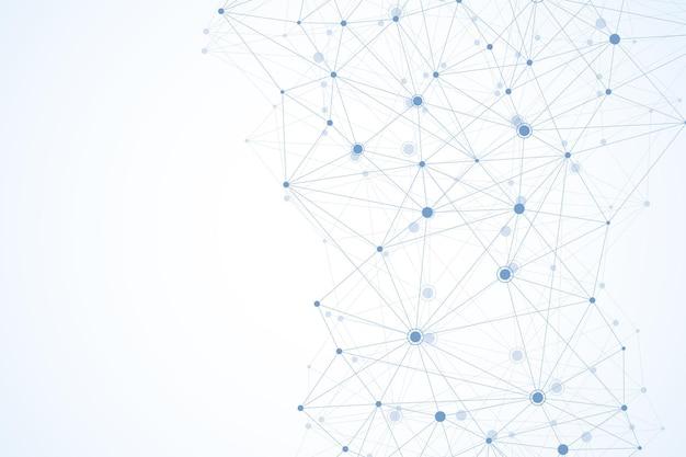 점과 선을 사용한 글로벌 네트워크 연결. 와이어 프레임 배경입니다. 추상 연결 구조입니다. 다각형 공간 배경입니다. 벡터 일러스트 레이 션.