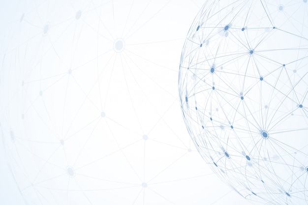 Глобальные сетевые соединения с точками и линиями. каркасный фон. абстрактная структура соединения. многоугольный космический фон.