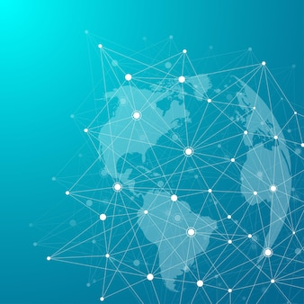 Global network connections with points and lines. internet connection background. abstract connection structure. polygonal space background. vector illustration