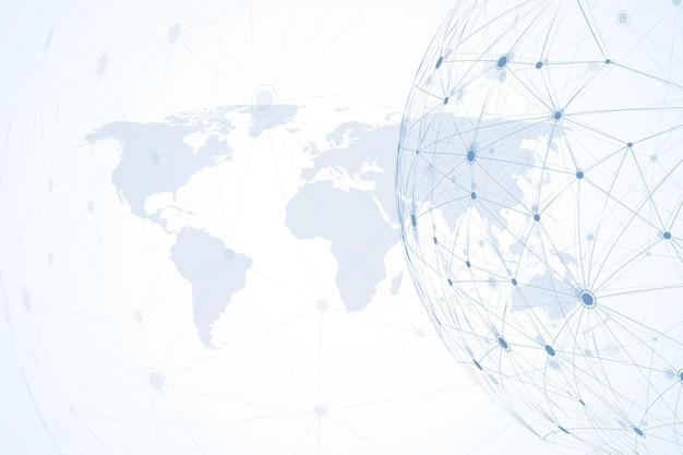 세계 지도와 글로벌 네트워크 연결. 인터넷 연결 배경입니다. 추상 연결 구조입니다. 다각형 공간 배경입니다. 벡터 일러스트 레이 션.