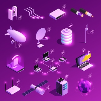Global network isometric glowing icons of equipment for internet technology isolated on purple