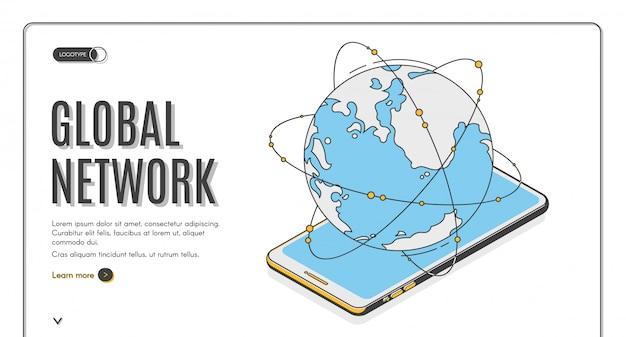 グローバルネットワーク等尺性ランディングページまたはバナーテンプレート。地球の電話