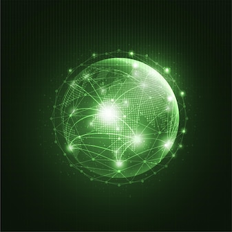 Global network technology background with world map or social media communication internet network