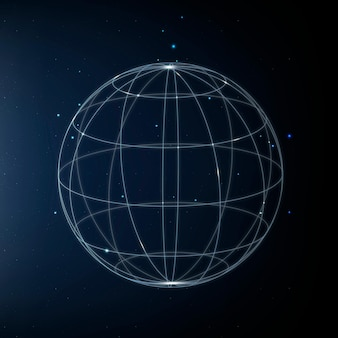 Global network technology icon in blue on gradient background