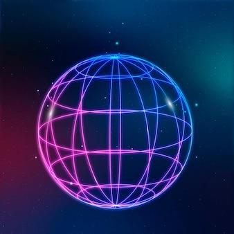 Icona della tecnologia di rete globale in neon su sfondo sfumato