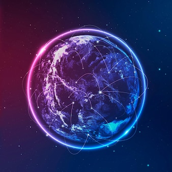 Global network technology icon in neon on gradient background