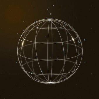 Global network technology icon vector in gold on gradient background