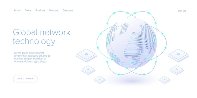 Global network technology in isometric  landing page. world internet connection or social media online communication concept. web banner layout template.