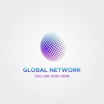 Global network technology logo circle halftone dot concept