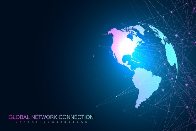Global network with world map illustration