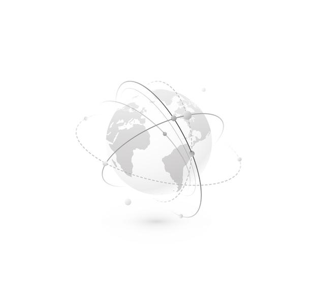 グローバルネットワークの世界の概念。大陸の地図と接続線、点と点を備えたテクノロジーグローブ。シンプルなフラットスタイル、モノクロカラーのデジタルデータプラネットデザイン。