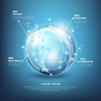 Global networks infographics. web earth technology, planet map sphere