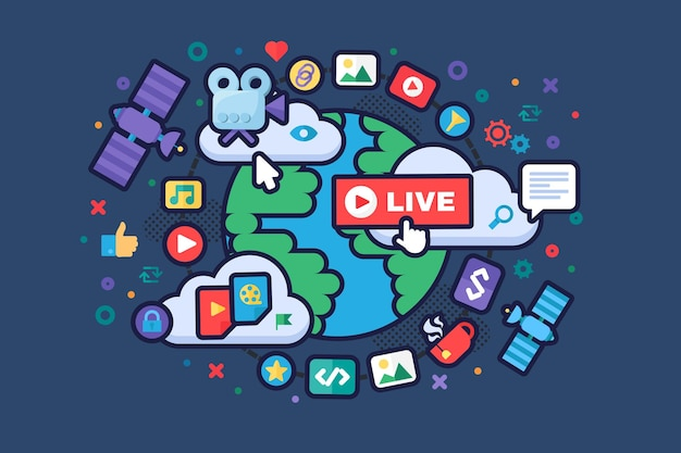 글로벌 뉴스 개념 아이콘입니다. 소셜 미디어 제작 도구. 라이브 스트림 아이디어 세미 플랫 그림입니다. 온라인 방송 배지. 벡터 절연 컬러 드로잉