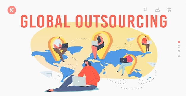 Global outsourcing landing page template. businesspeople with laptop sitting at navigation pins on world map. characters working distantly connected in network. cartoon people vector illustration