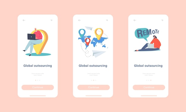 Global outsourcing mobile app page onboard screen template. businesspeople characters with laptop sitting at navigation pins on world map worldwide network concept. cartoon people vector illustration