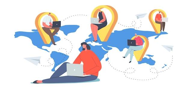 글로벌 아웃소싱 팀 개념, 세계 지도의 탐색 핀에 노트북이 있는 기업인. 네트워크에서 멀리 연결된 남성과 여성 캐릭터. 만화 사람들 벡터 일러스트 레이 션
