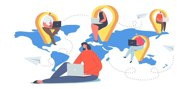 Global outsourcing team concept, businesspeople with laptop sitting at navigation pins on world map. men and women characters working distantly connected in network. cartoon people vector illustration
