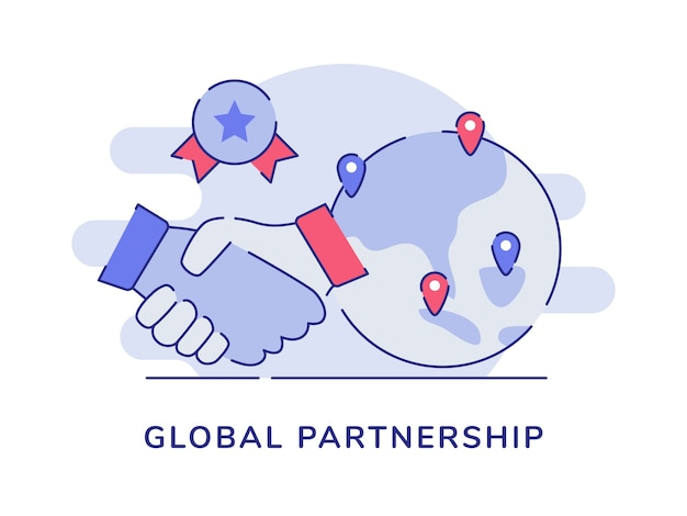 Global partnership concept handshake earth pointer location certificate