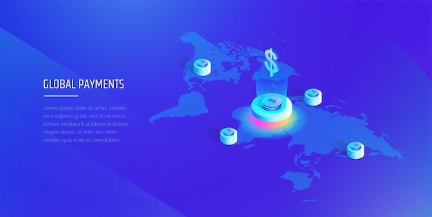Global payment system isometric map of the world with the global financial system