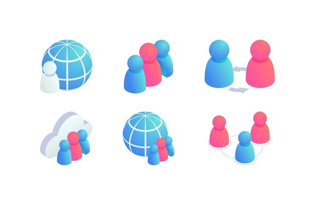 グローバルな人々のチームワークアイソメトリックアイコンを設定します。 3dグローブビジネス、ソーシャルメディアネットワークユーザー、インターネット通信サイン、コラボレーションシンボル。