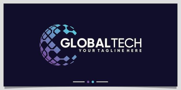 Global planet logo design technology with creative concept premium vector