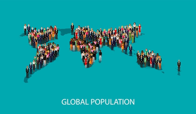 Global population concept with people and world map