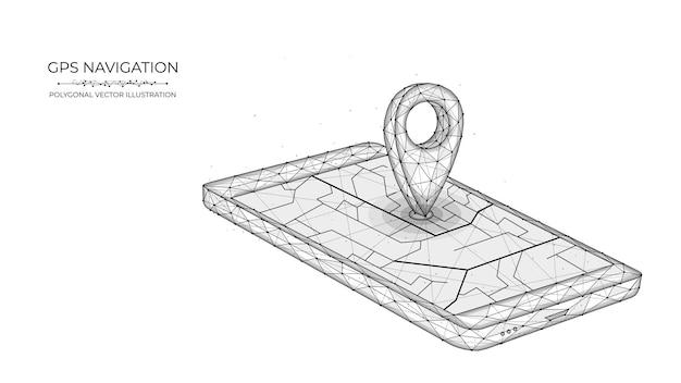 Низкополигональная полигональная векторная иллюстрация системы глобального позиционирования для мобильной gps-навигации